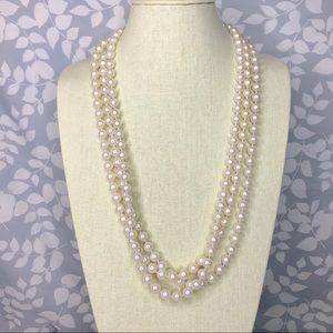 Multi-strand Long Faux Pearl Statement Necklace